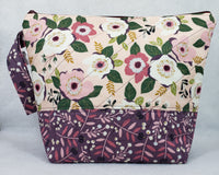 Mauve Flowers - Project Bag - Medium - Crafting My Chaos