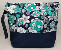 Navy Flowers - Project Bag - Medium - Crafting My Chaos