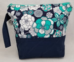Navy Flowers - Project Bag - Small - Crafting My Chaos