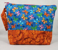 Orange Butterflies - Project Bag - Medium - Crafting My Chaos