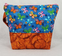 Orange Butterflies - Project Bag - Small - Crafting My Chaos