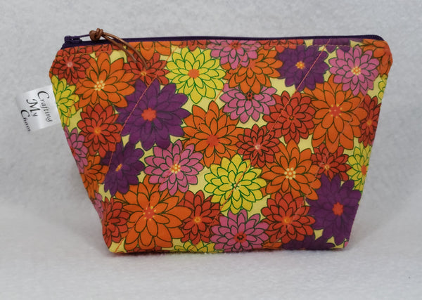 Orange Floral - Notions Bag - Crafting My Chaos