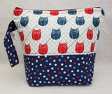 Owls (Blue Polka Dots) - Project Bag - Small - Crafting My Chaos