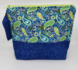Paisleys on Faux Denim -  Project Bag - Medium