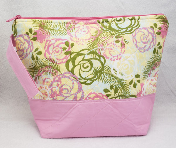 Pale Pink Floral - Project Bag - Medium - Crafting My Chaos