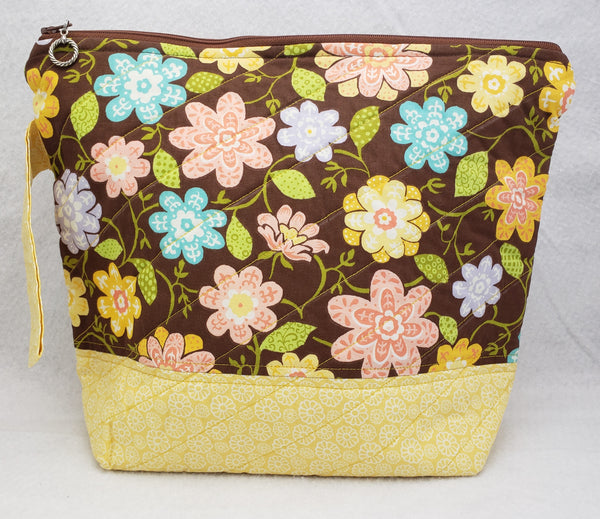 Pale Yellow Flowers - Project Bag - Medium - Crafting My Chaos