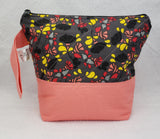 Peach with Black Flowers - Project Bag - Small - Crafting My Chaos