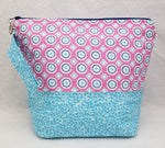 Pink Circles and Pale Blue - Project Bag - Small - Crafting My Chaos