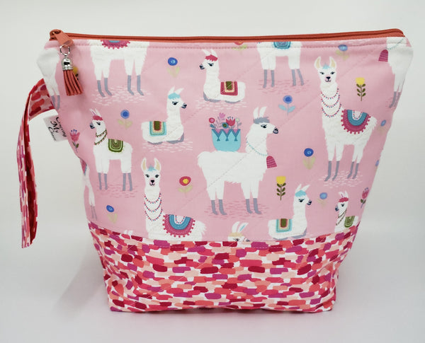 Pink Llamas - Project Bag - Medium