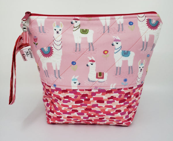 Pink Llamas - Project Bag - Small