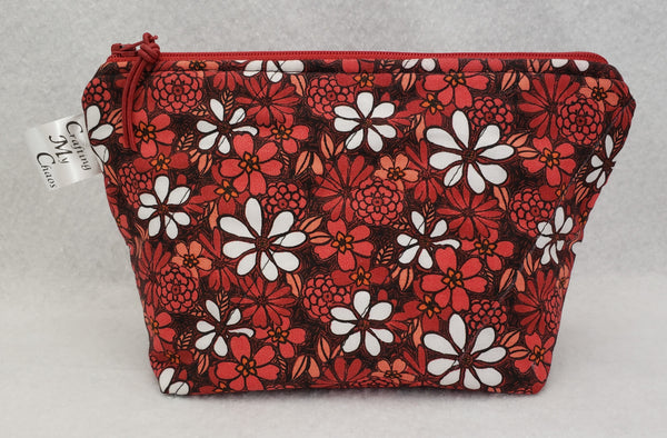 Red Flowers - Notions Bag - Crafting My Chaos