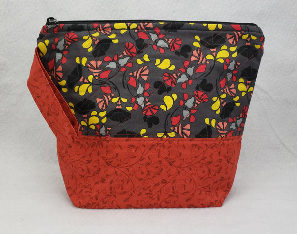 Red with Black Flowers - Project Bag - Small - Crafting My Chaos