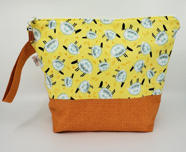 Sheep Grazing in Orange - Project Bag - Medium