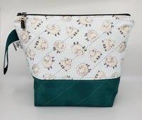 Sheep on Teal - Project Bag - Medium