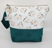 Sheep on Teal - Project Bag - Small