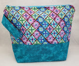 Teal Blue with Flowers - Project Bag - Medium - Crafting My Chaos
