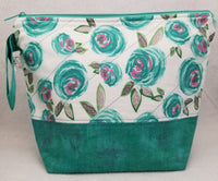 Teal Flowers - Project Bag - Medium - Crafting My Chaos