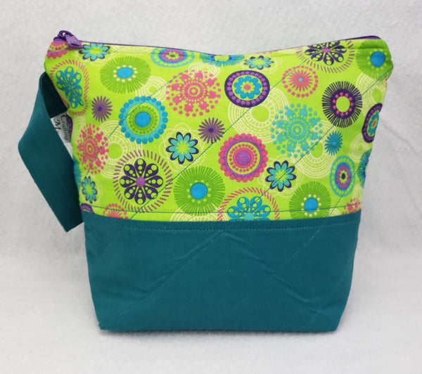 Teal and Flowers - Project Bag - Small - Crafting My Chaos