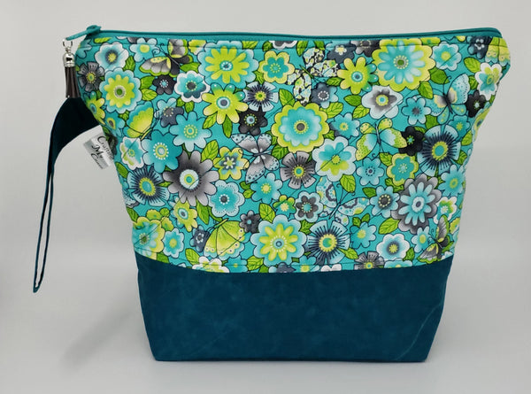 Tealish Flowers - Project Bag - Medium