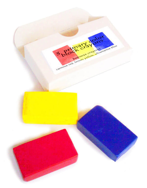 Primary color block crayons