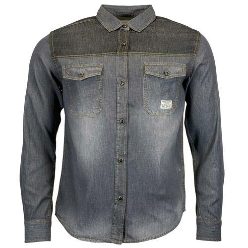 Mens Jack South Long Sleeved Contrast Denim Shirt