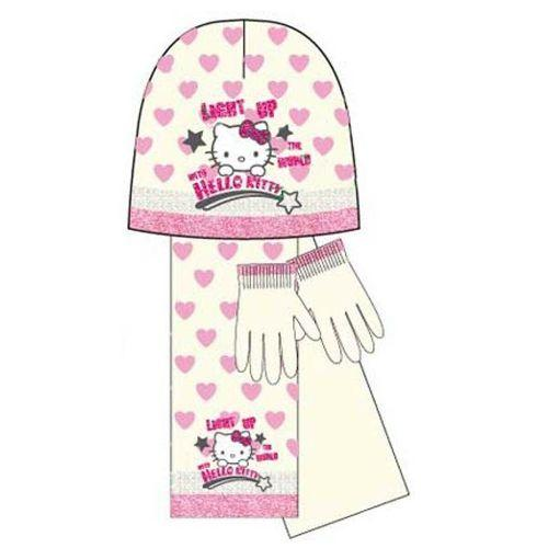 Kids Girls Hello Kitty Light Up Scarf Gloves Set