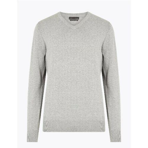 M&S Mens Pure Cotton V Neck Jumper Marks & Spencers Sweater