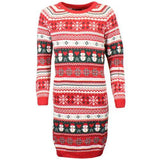 Womens Christmas Xmas Long Knitted Dress Jumper
