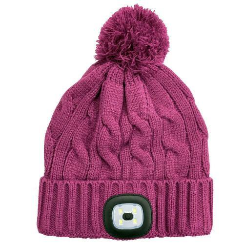 Ladies Cable Knit Beanie Hat with LED Head Light