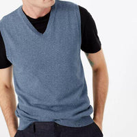 Mens Pure Cotton V Neck Sleeveless Jumper (ex store order)