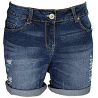 WestAce Ladies Stretch Denim Ripped Rollup Shorts