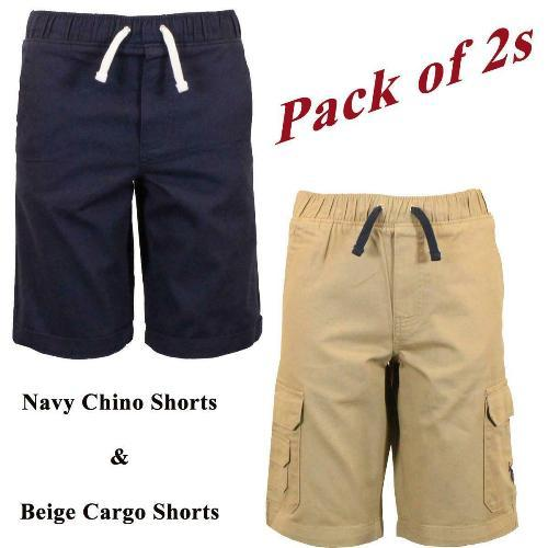 2 Pack Shorts Chino Roll Up Cargo Boys Shorts