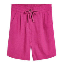 Womens Linen Blend Knee Shorts