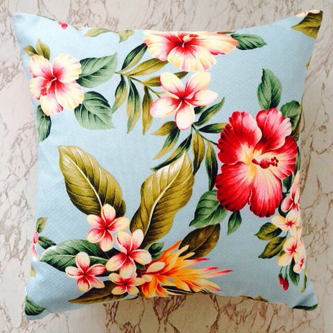 lush tropical turquoise hibiscus hawaiian cushion