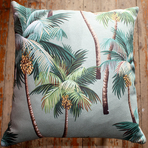 palm tree tropical barkcloth cushions