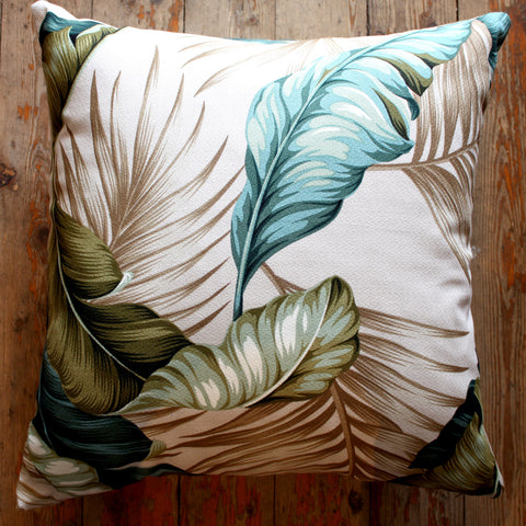 tropical hawaiian banana leaf cushion