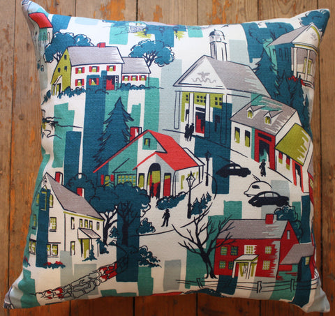 vintage townscape cushion