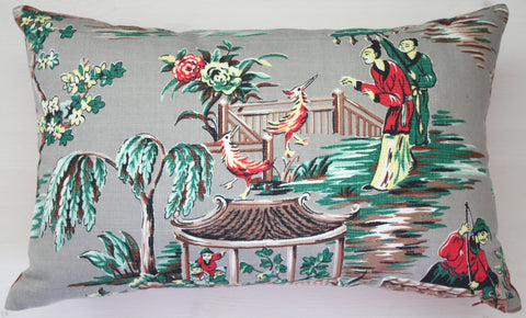 vintage barkcloth chinese scene cushion