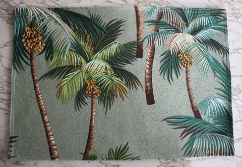 palm tree barkcloth placemats