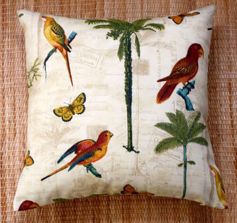 exotic bird & palm outdoor cushions