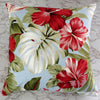 retro tropical sky blue hibiscus barkcloth cushion