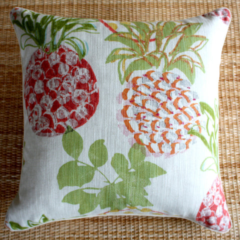 pineapple red linen cushions