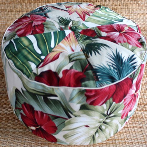 tropical palm & blush pouf