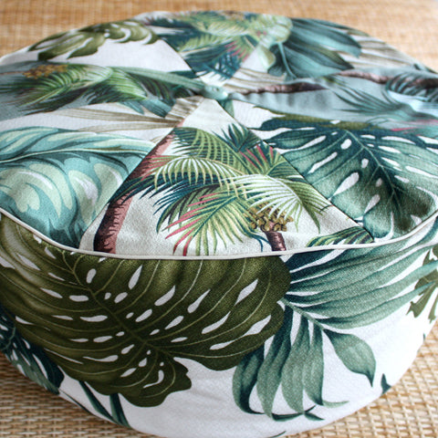 green palm barkcloth pouf