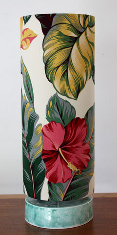 tropical hibiscus ceramic table lamp