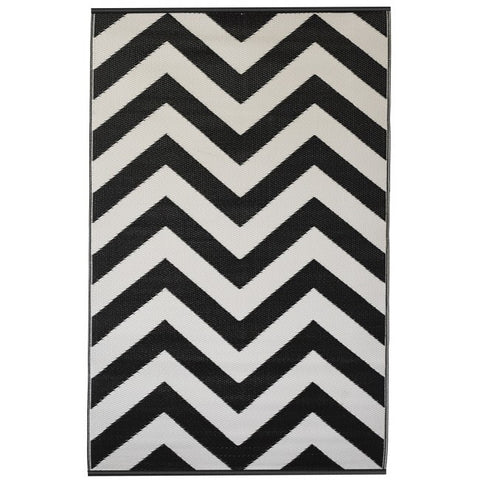 chevron black outdoor rug