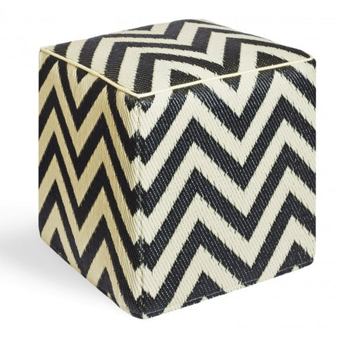 black chevron outdoor ottoman