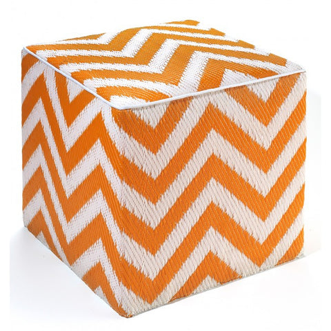 orange chevron outdoor ottoman