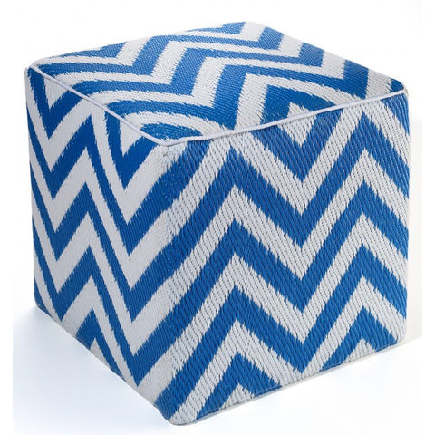 blue chevron outdoor ottoman