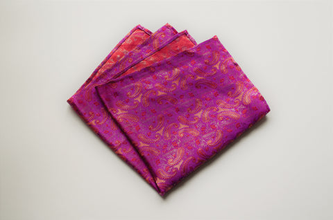 Paisley print pocket square with Pink Peacock, Fiesta, Aspen Gold and Turmeric colors.